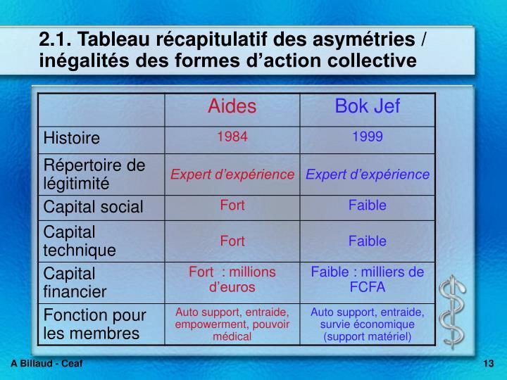 2.1. Tableau récapitulatif des asymétries / inégalités des formes d'action collective
