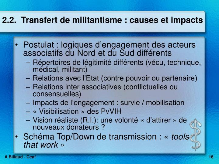 2.2.  Transfert de militantisme : causes et impacts
