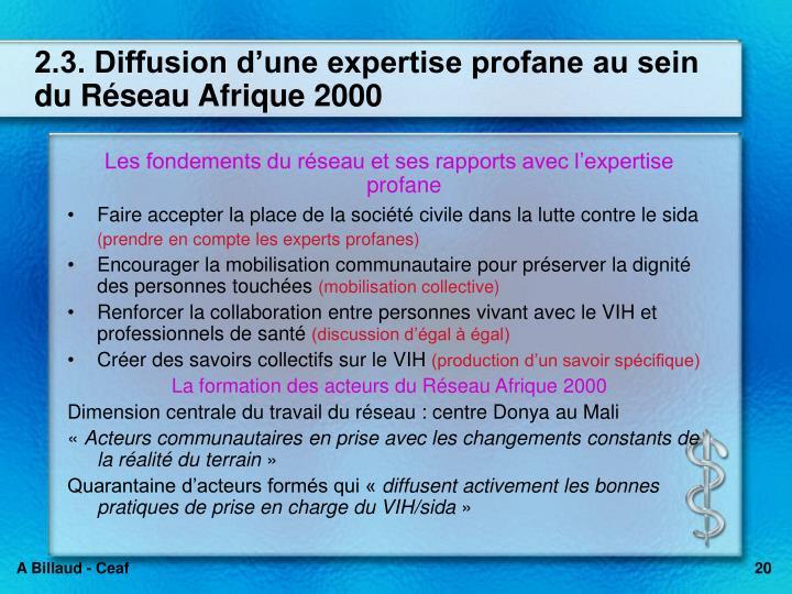 2.3. Diffusion dune expertise profane au sein du Rseau Afrique 2000