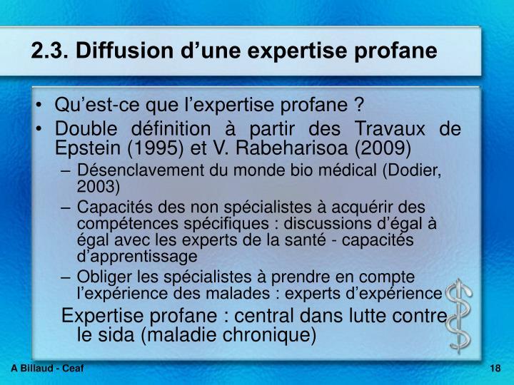 2.3. Diffusion dune expertise profane