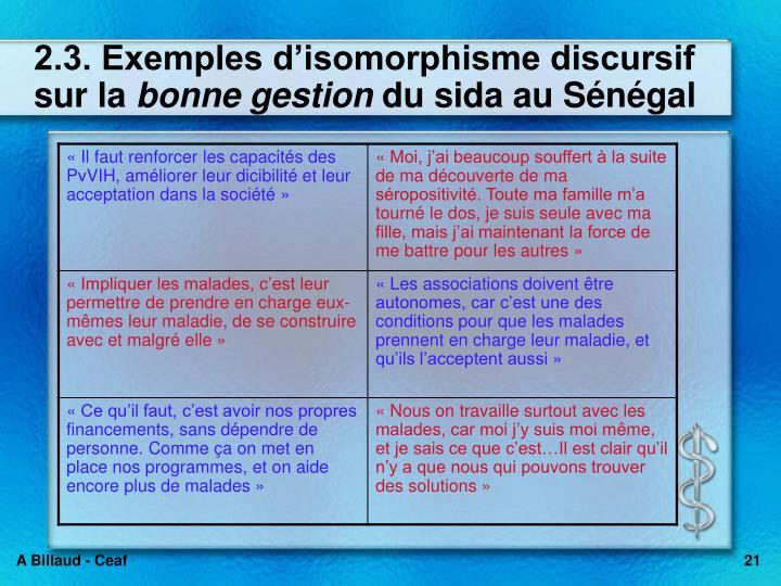 2.3. Exemples disomorphisme discursif sur la