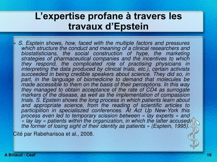 Lexpertise profane  travers les travaux dEpstein