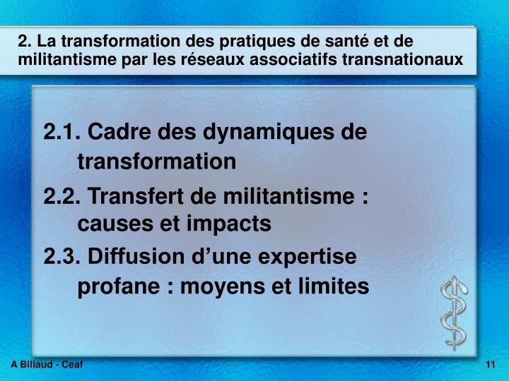 2. La transformation des pratiques de sant et de militantisme par les rseaux associatifs transnationaux