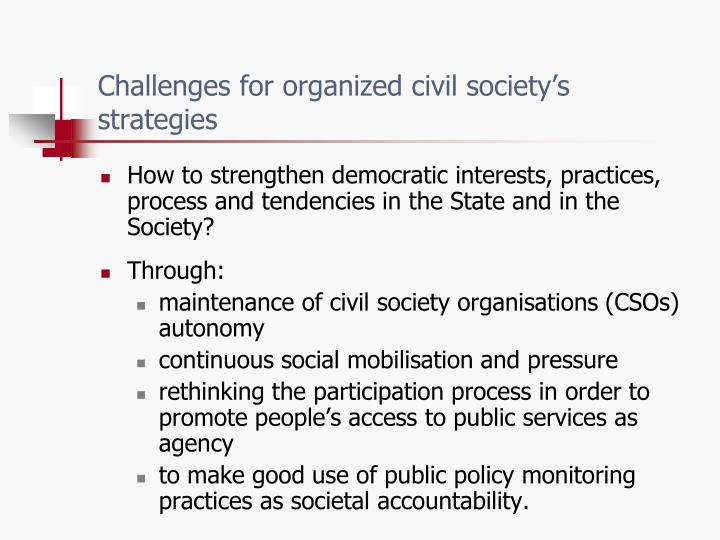 Challenges for organized civil society's strategies
