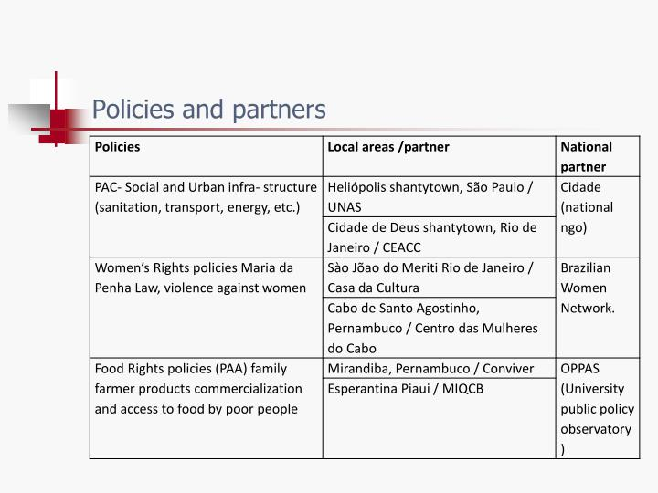 Policies and partners