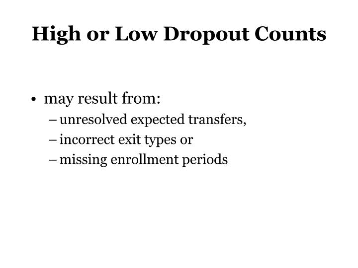 High or Low Dropout Counts
