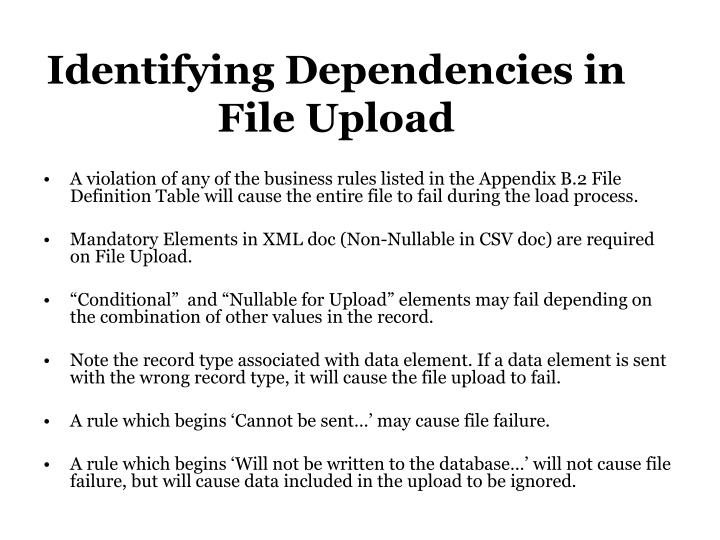 Identifying Dependencies in File Upload