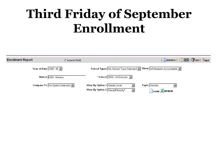 Third Friday of September Enrollment