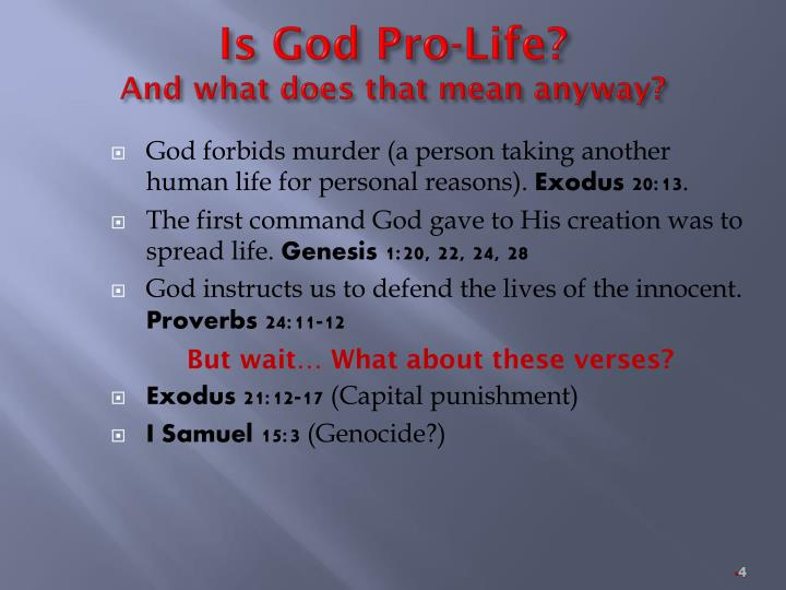 Is God Pro-Life?