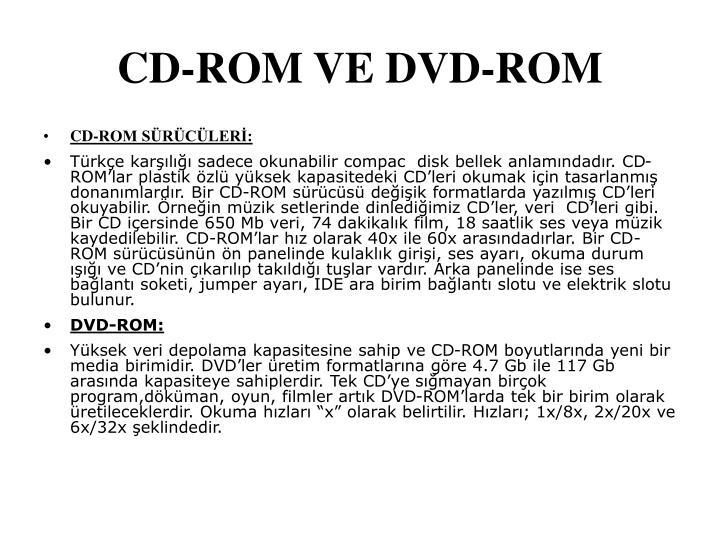 CD-ROM VE DVD-ROM