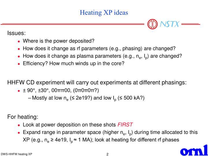 Heating XP ideas