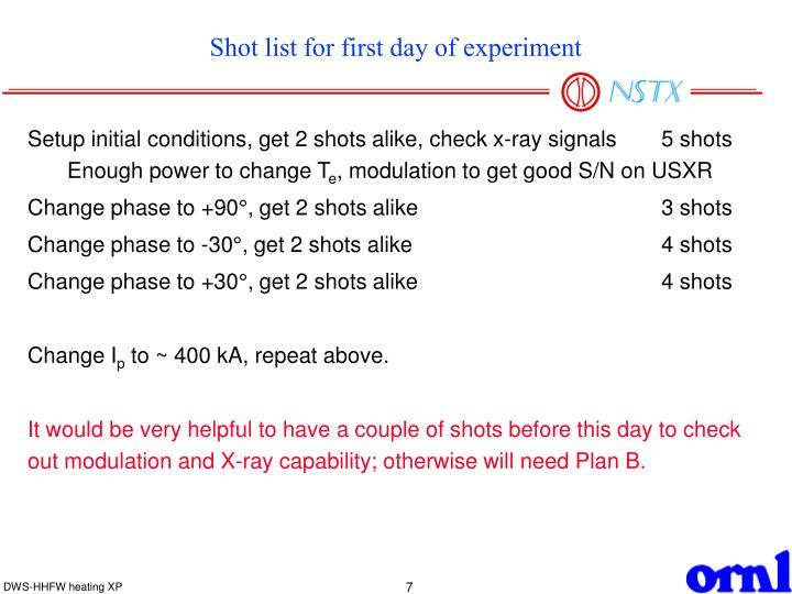 Shot list for first day of experiment