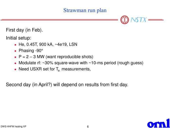 Strawman run plan