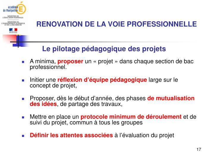 Le pilotage pédagogique des projets