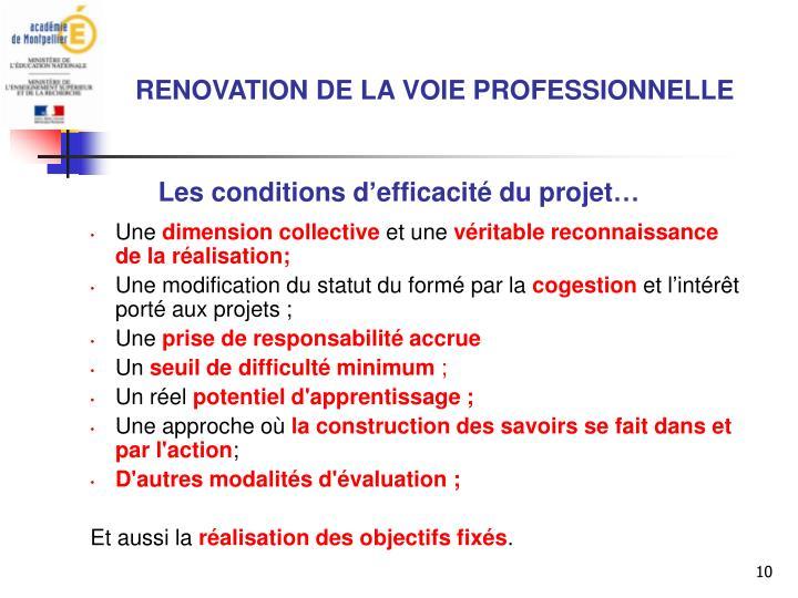 Les conditions d'efficacité du projet…