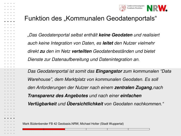 """Funktion des """"Kommunalen Geodatenportals"""""""