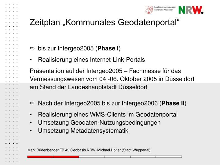 "Zeitplan ""Kommunales Geodatenportal"""