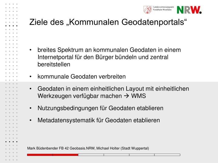 """Ziele des """"Kommunalen Geodatenportals"""""""