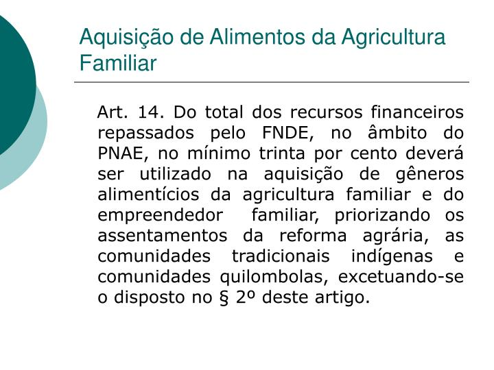Aquisição de Alimentos da Agricultura Familiar