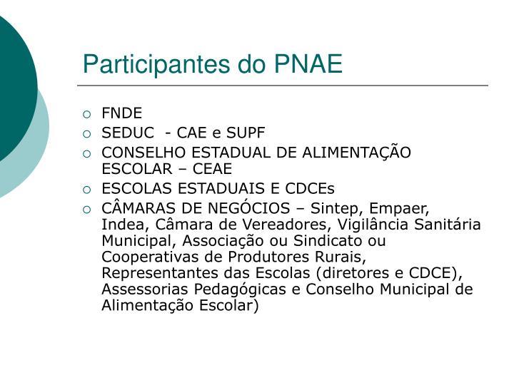 Participantes do PNAE