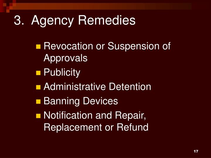 3.  Agency Remedies