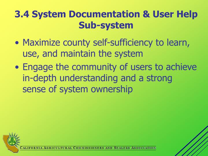 3.4 System Documentation & User Help Sub-system