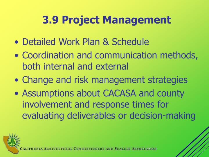 3.9 Project Management