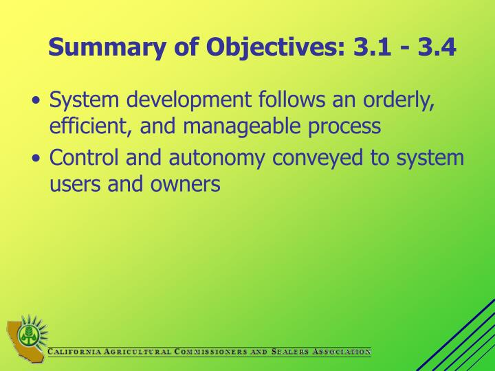 Summary of Objectives: 3.1 - 3.4