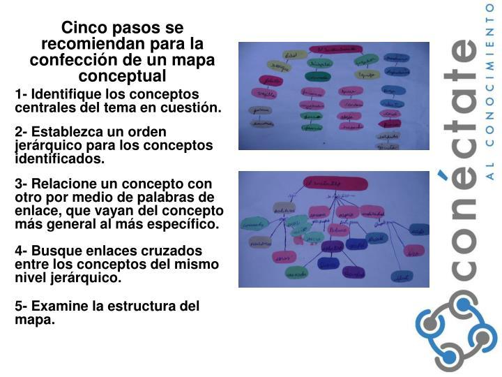 Cinco pasos se recomiendan para la confección de un mapa conceptual