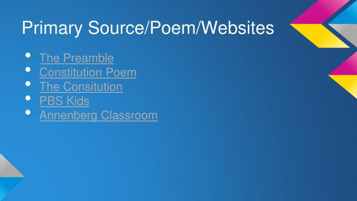 Primary Source/Poem/Websites