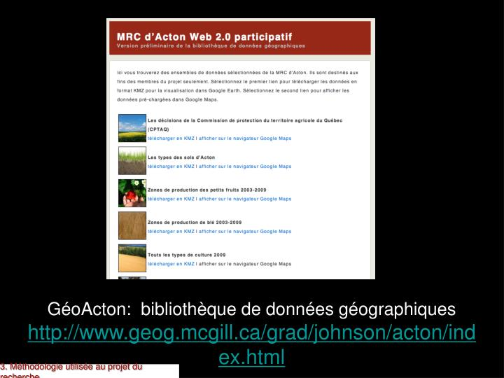 GéoActon:  bibliothèque de données géographiques