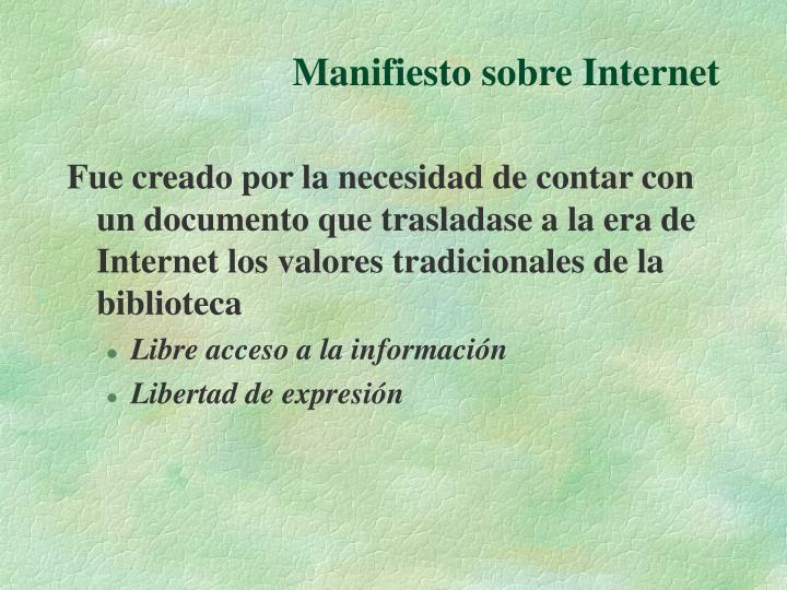Manifiesto sobre Internet