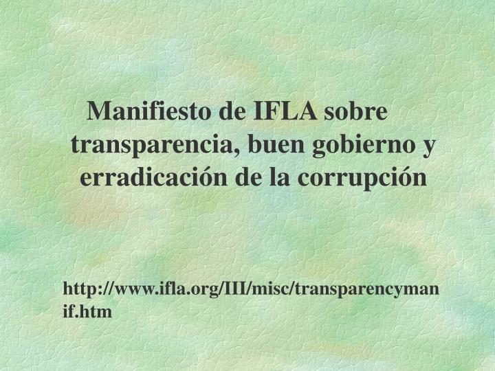 Manifiesto de IFLA sobre transparencia, buen gobierno y erradicación de la corrupción