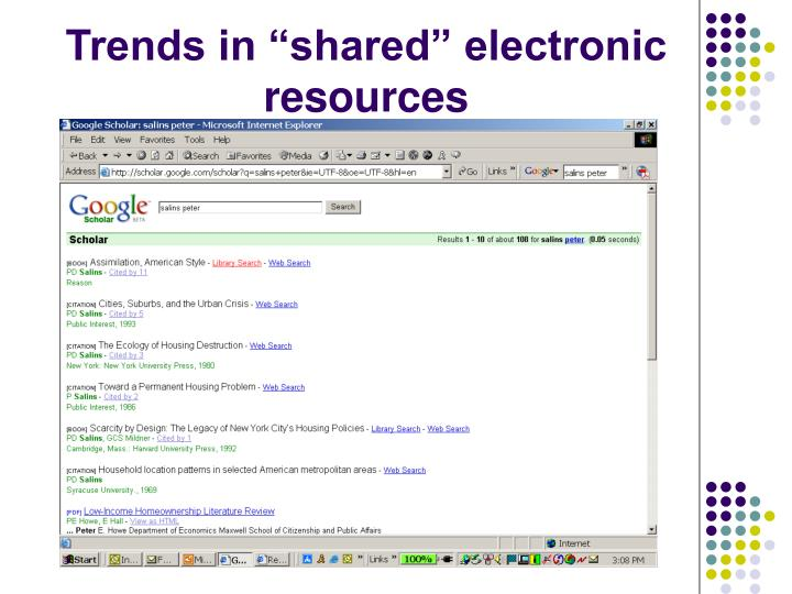 "Trends in ""shared"" electronic resources"