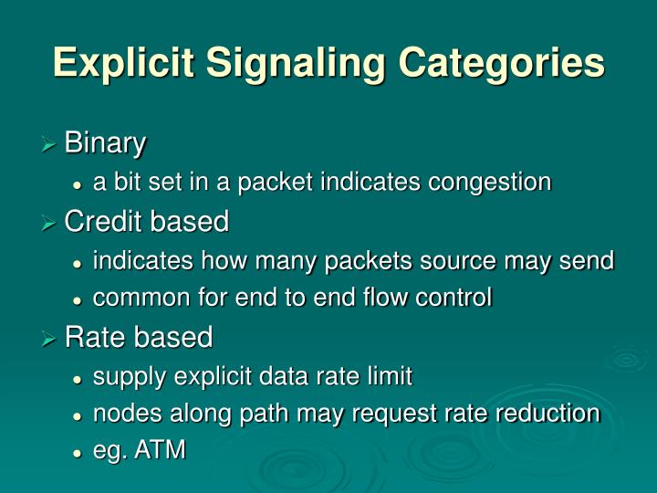 Explicit Signaling Categories