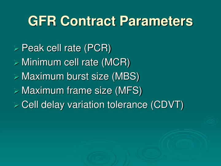 GFR Contract Parameters