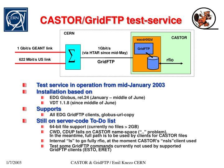 CASTOR/GridFTP test-service