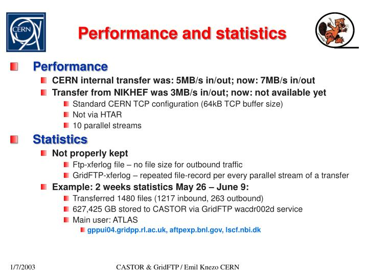 Performance and statistics