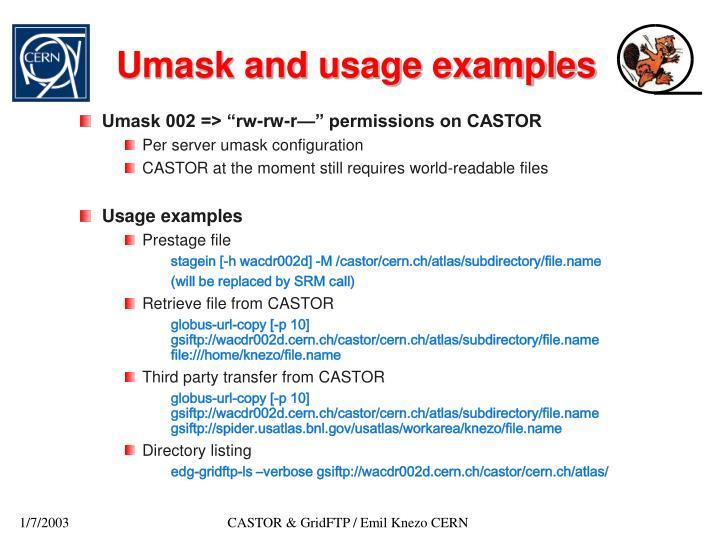 Umask and usage examples