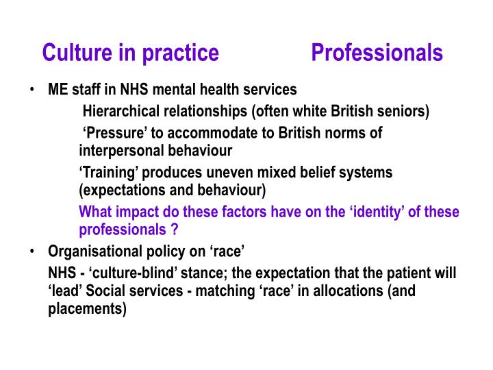 Culture in practice        Professionals