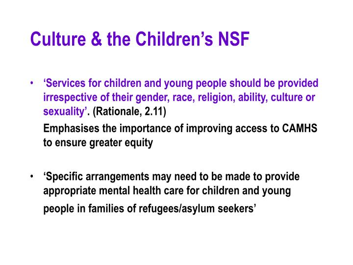 Culture & the Children's NSF