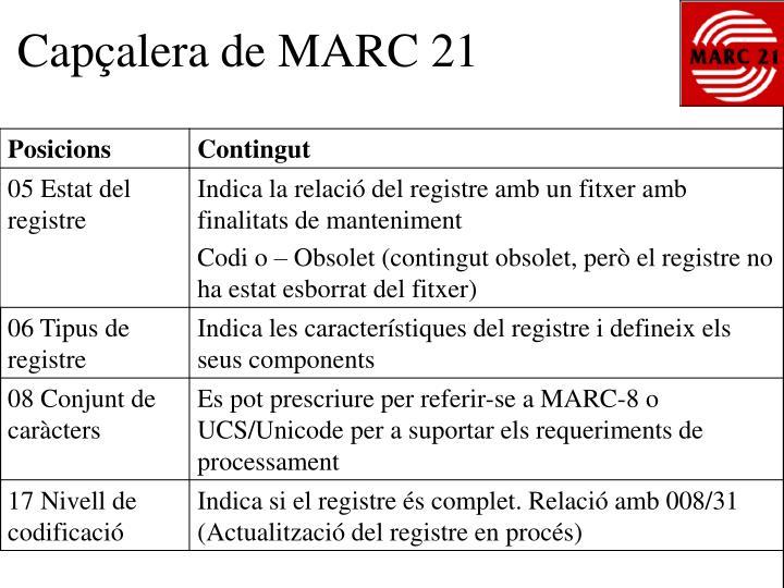 Capçalera de MARC 21