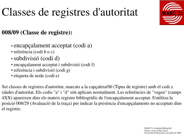 Classes de registres d'autoritat