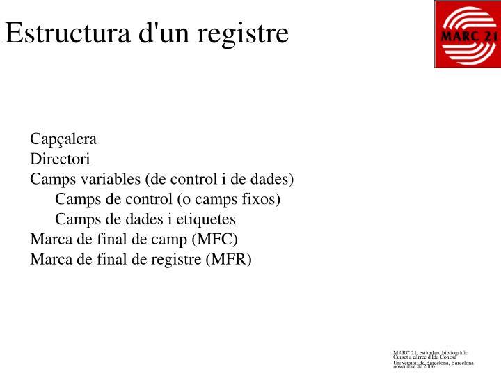 Estructura d'un registre