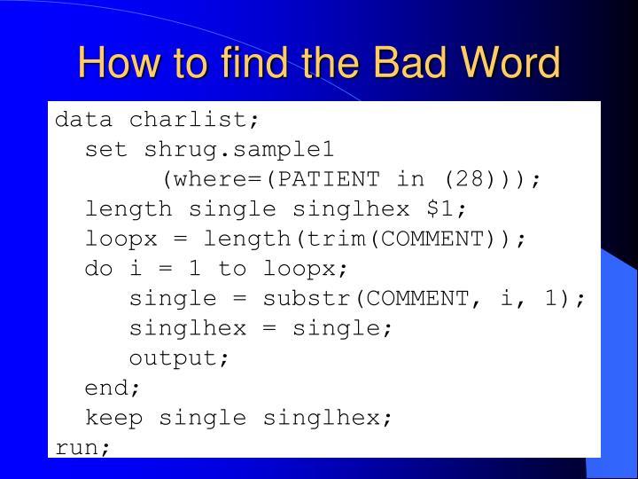 data charlist;