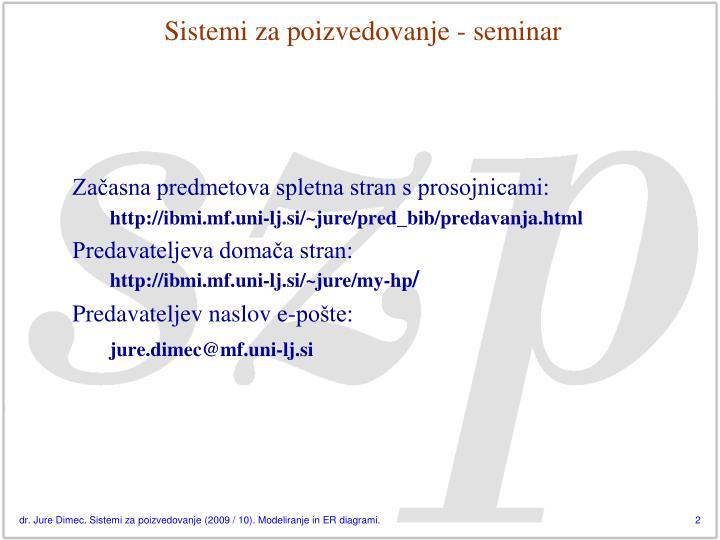 Sistemi za poizvedovanje - seminar