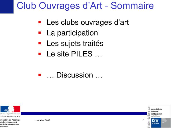 Club Ouvrages d'Art - Sommaire