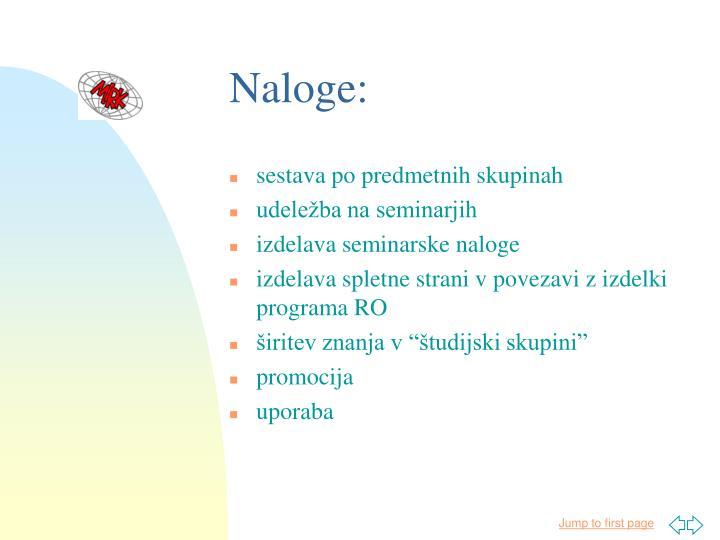 Naloge: