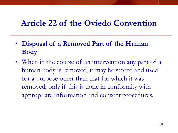 Article 22 of the Oviedo Convention