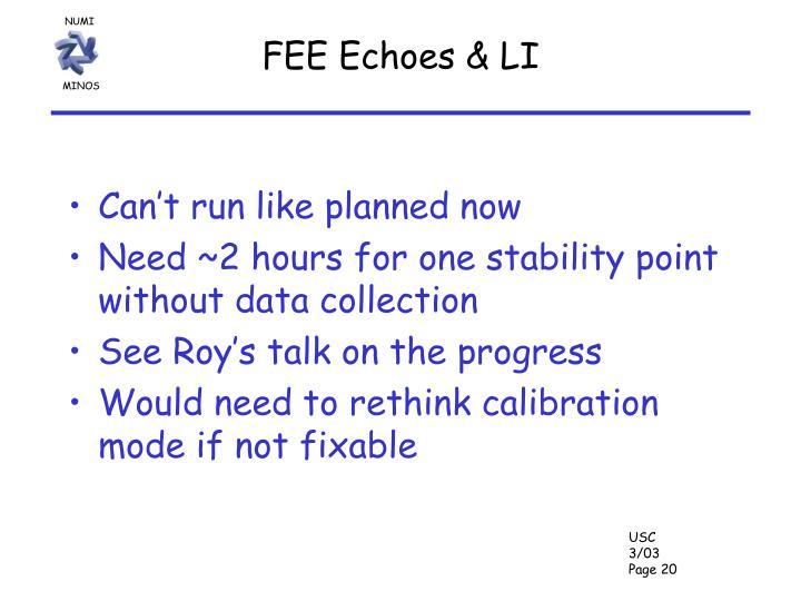 FEE Echoes & LI